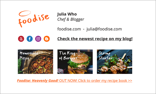 Best email signatures for 2020 - Foodise