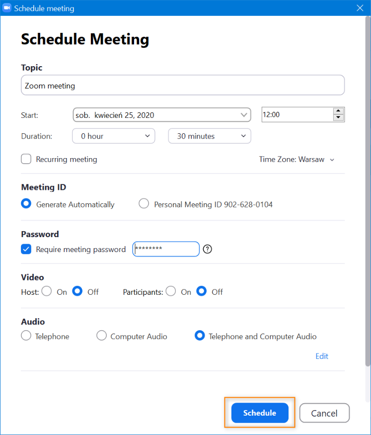Creating a Zoom meeting, step 2.