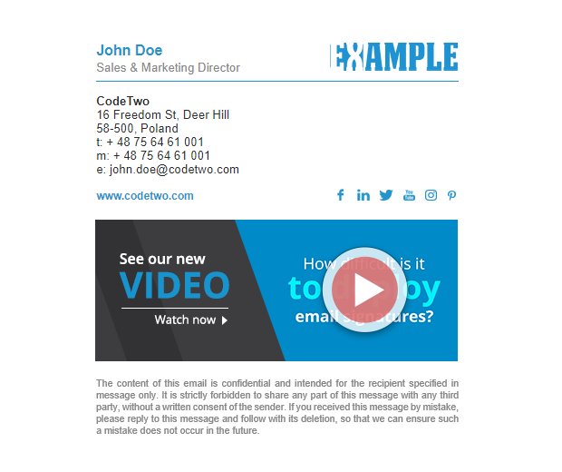 Email signature with a video thumbnail.