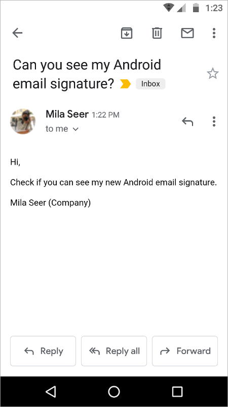 Testing Android email signature.