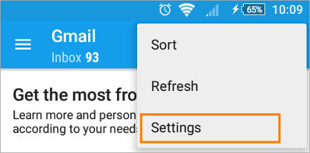 Setting up an email signature in the Android email app.