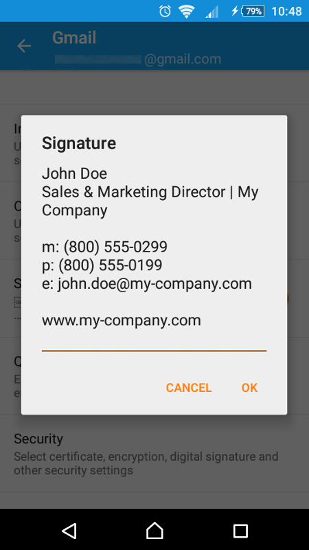 Create an email signature in the Android email app.