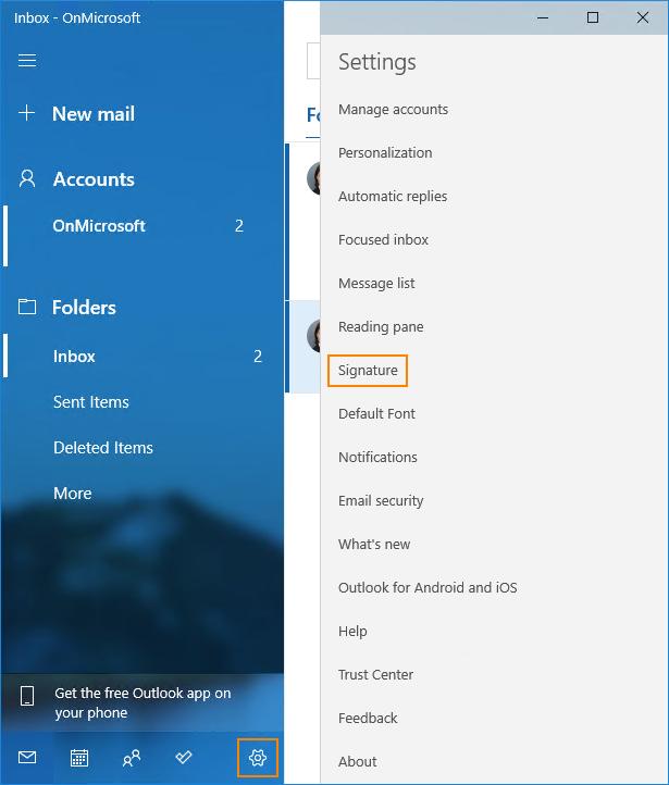 Signature settings in Windows 10 Mail app