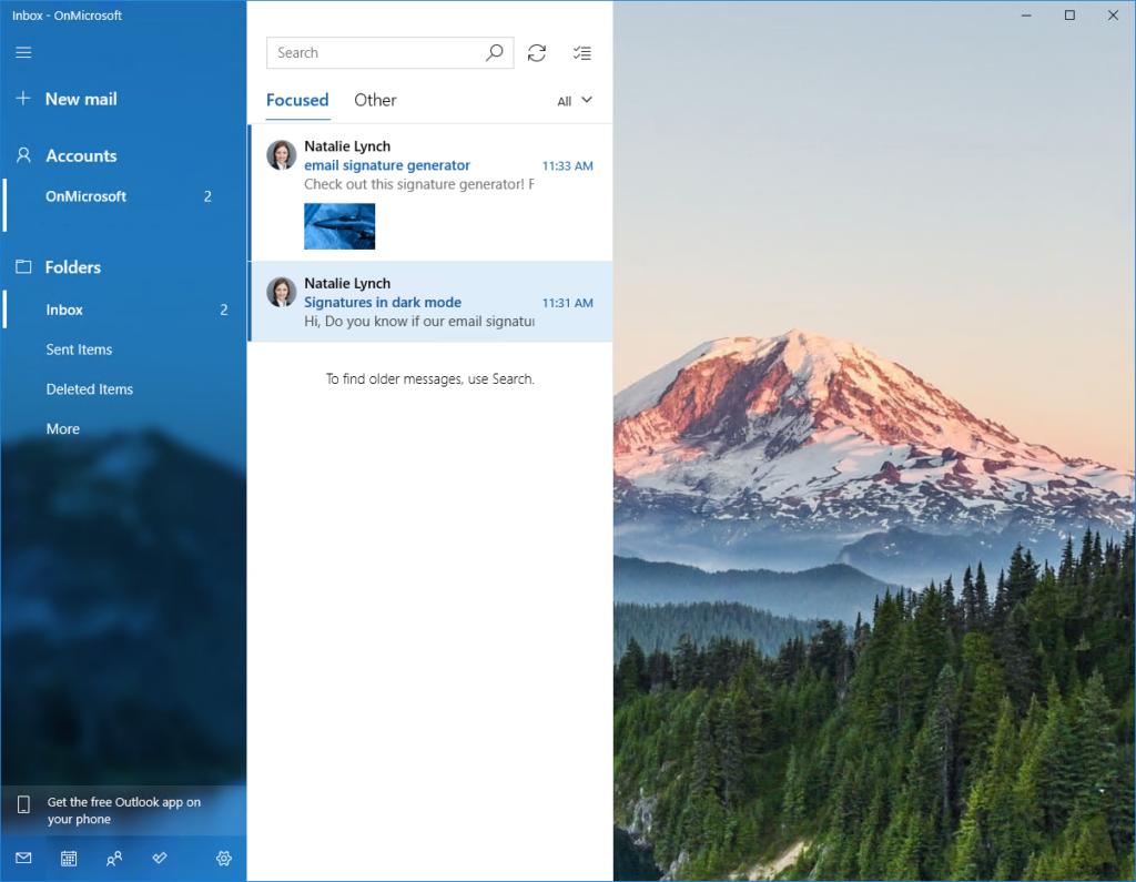 Windows 10 Mail app - main window