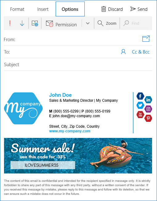 Windows 10 Mail app new email with signature