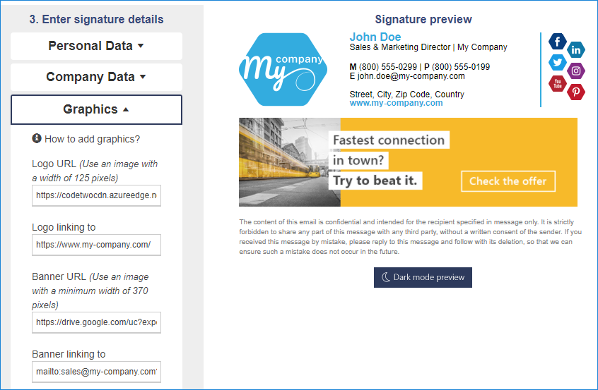 signature generator mailto links