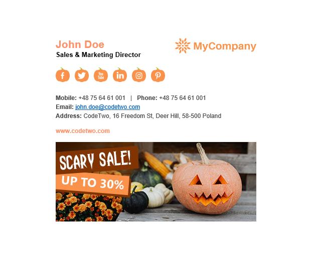 Halloween signature template Pumpkin Spice - light mode.