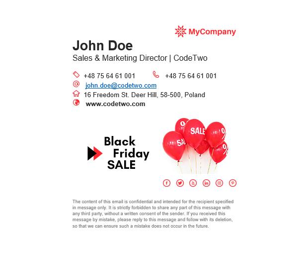 Free email signature designs for Black Friday & Cyber Monday