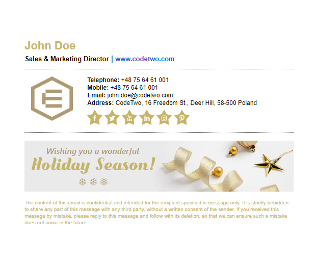 Holiday signature template – Classy holidays