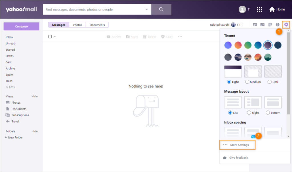 Opening Yahoo Mail settings