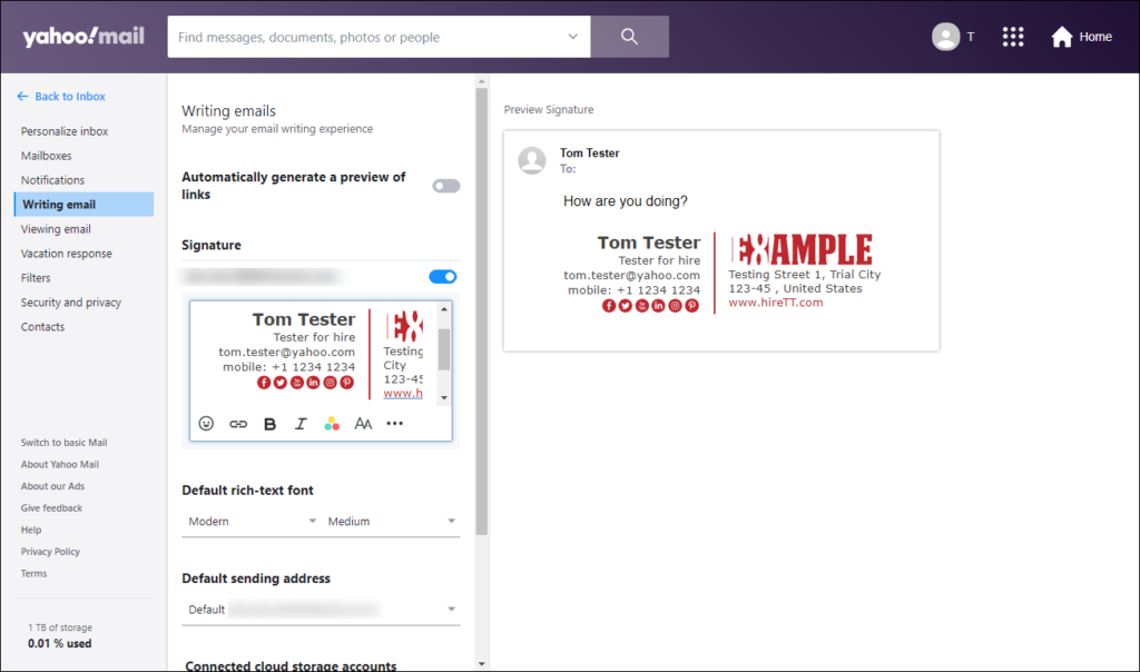 Adding email signature in Yahoo mail