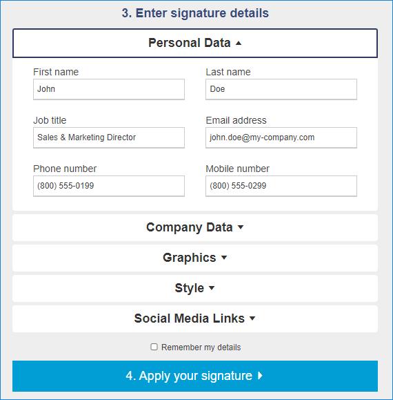 Signature generator guide - Enter signature details