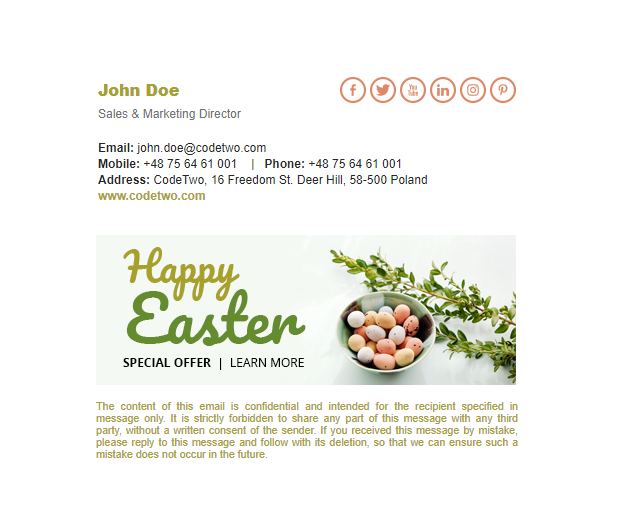 Free spring signature template – Traditional Easter