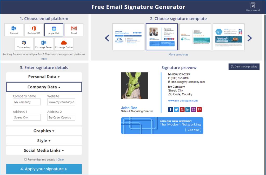 Apple Mail HTML signature generator