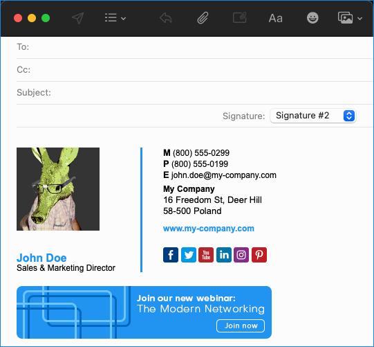 Apple Mail signature standard mode