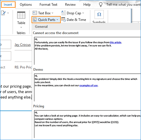 Outlook insert canned response