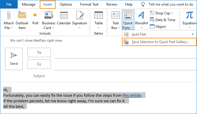 Outlook new Quick Part - Save selection to Quick Part Gallery