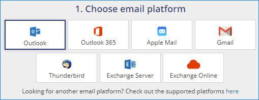 Choose email platform for your signature: Outlook, Apple Mail, Gmail, Thunderbird, Exchange Server or Microsoft 365