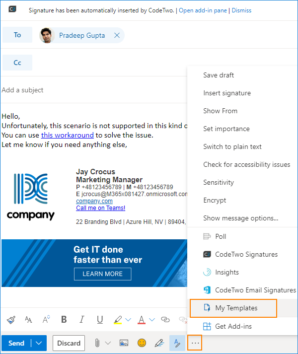 Outlook on the web - My Templates button_2